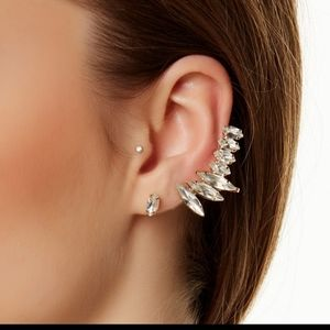 Crystal Tear Drop Earrings with Cuff